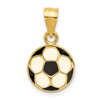 14k Enameled Soccer Ball Pendant