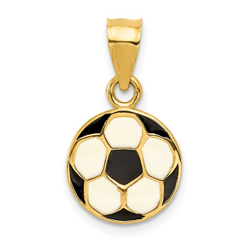 Quality Gold 14k Enameled Soccer Ball Pendant