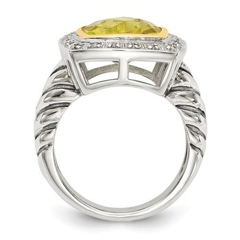 Sterling Silver w/14k Lemon Quartz & Diamond Ring