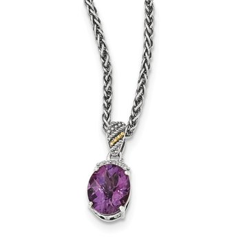 Sterling Silver w/14k Amethyst & Diamond Necklace