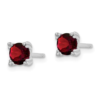 Sterling Silver Rhodium-plated Round 5mm Garnet Post Earrings