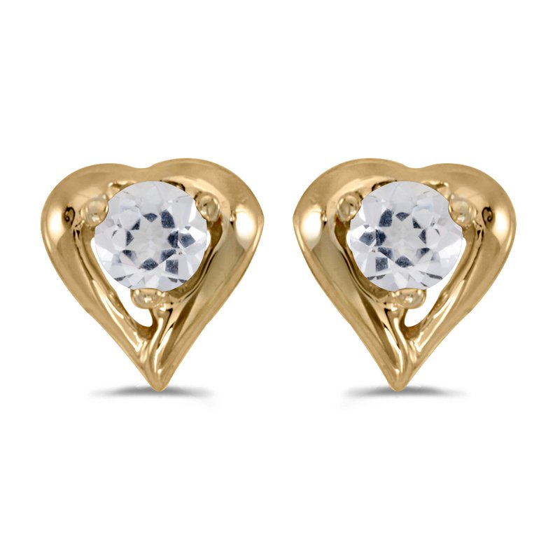 Color Merchants 10k Yellow Gold Round White Topaz Heart Earrings