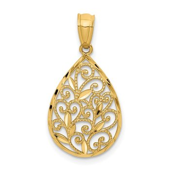 14K Gold Polished and Textured Small Filigree Teardrop Pendant