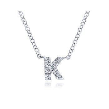 "14K White Gold ""K"" Initial Diamond Necklace"