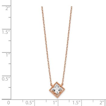 14K Rose Gold Square CZ w/ 1in ext. Necklace