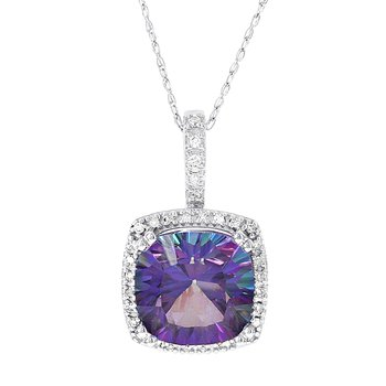 10k White Gold Exotic Purple Topaz 1/6ct Diamond Pendant