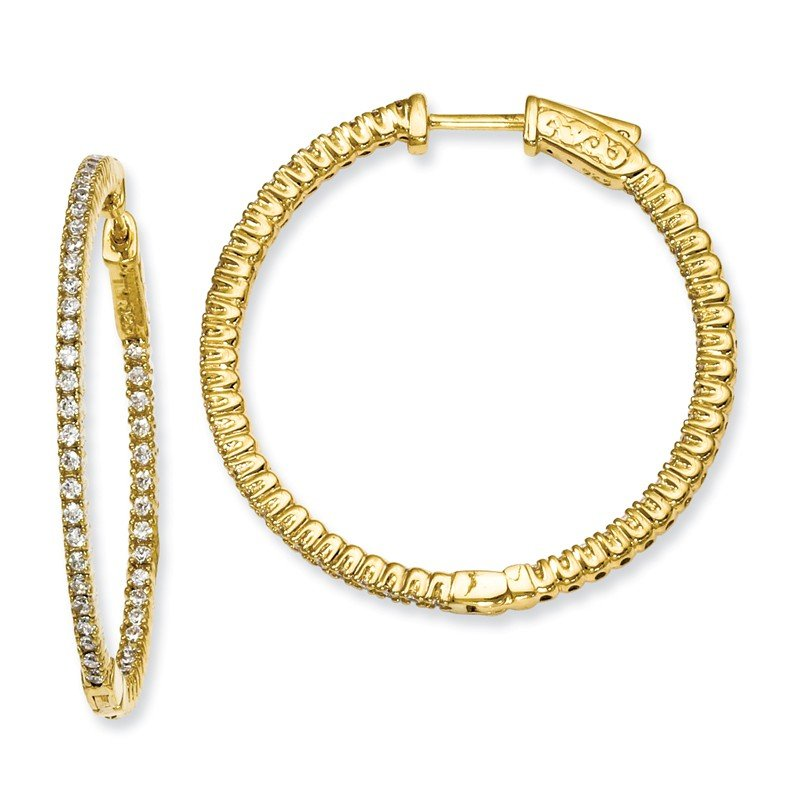 Quality Gold Sterling Silver Yellow-plated CZ In and Out Round Hoop Earrings