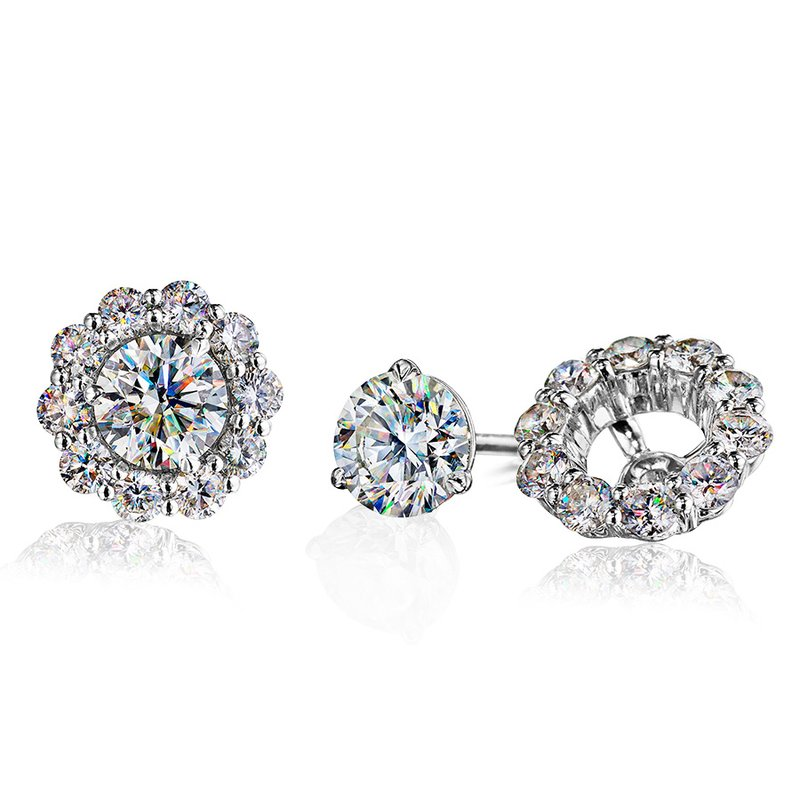 Fire Polish Diamonds Earring Jacket 3/4 CTTW (for 1 CTTW Studs)