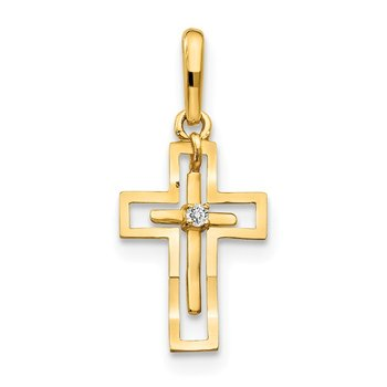 14k CZ Diamond-cut Children's Cross Pendant