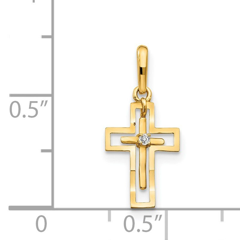 Quality Gold 14k CZ Diamond-cut Children's Cross Pendant