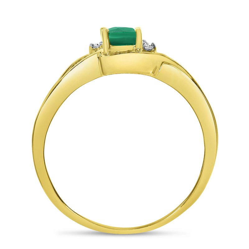 Color Merchants 10k Yellow Gold Oval Emerald And Diamond Curve Ring