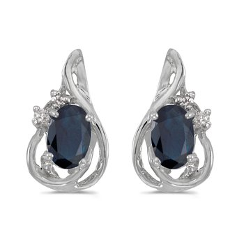 14k White Gold Oval Sapphire And Diamond Teardrop Earrings