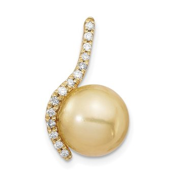 14K 10-11mm Golden Saltwater Cultured South Sea Pearl .125ct Dia Pendant