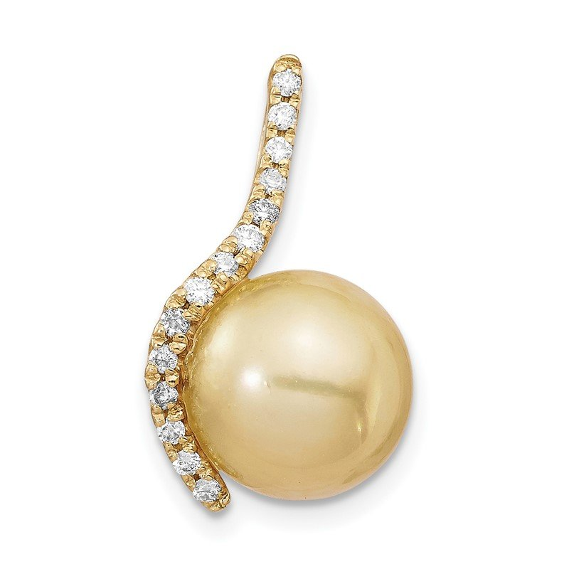 Quality Gold 14K 10-11mm Golden Saltwater Cultured South Sea Pearl .125ct Dia Pendant