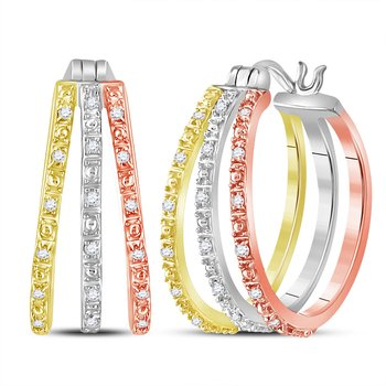 14kt Tri-Tone Gold Womens Round Diamond Triple Hoop Earrings 1/5 Cttw