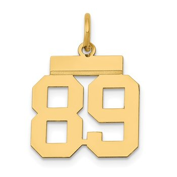 14k Small Polished Number 89 Charm
