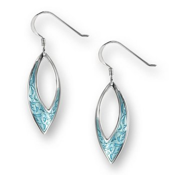 Turquoise Marquise Wire Earrings.Sterling Silver