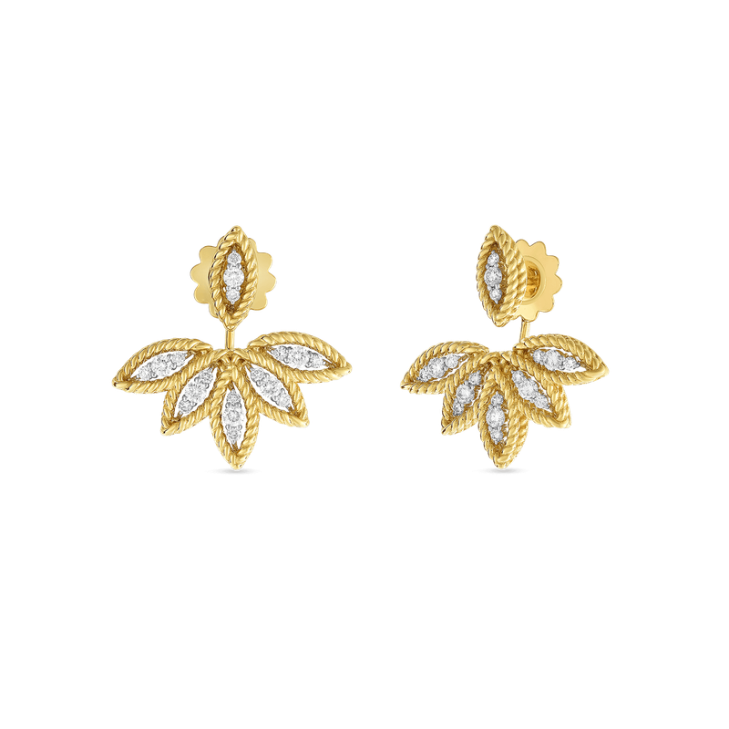 Roberto Coin 18Kt Gold Diamond Stud Earrings With Fan Jacket