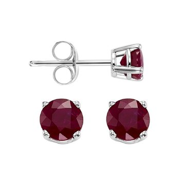 Four Prong Ruby Studs in 14K White Gold (4.5 MM)