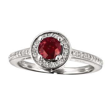 14k White Gold Ruby and Diamond Double Circle Ring