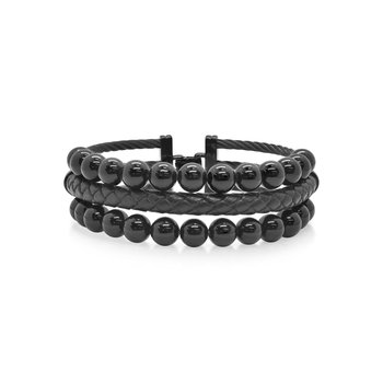 Black Cable Bracelet with Black Leather & Black Onyx