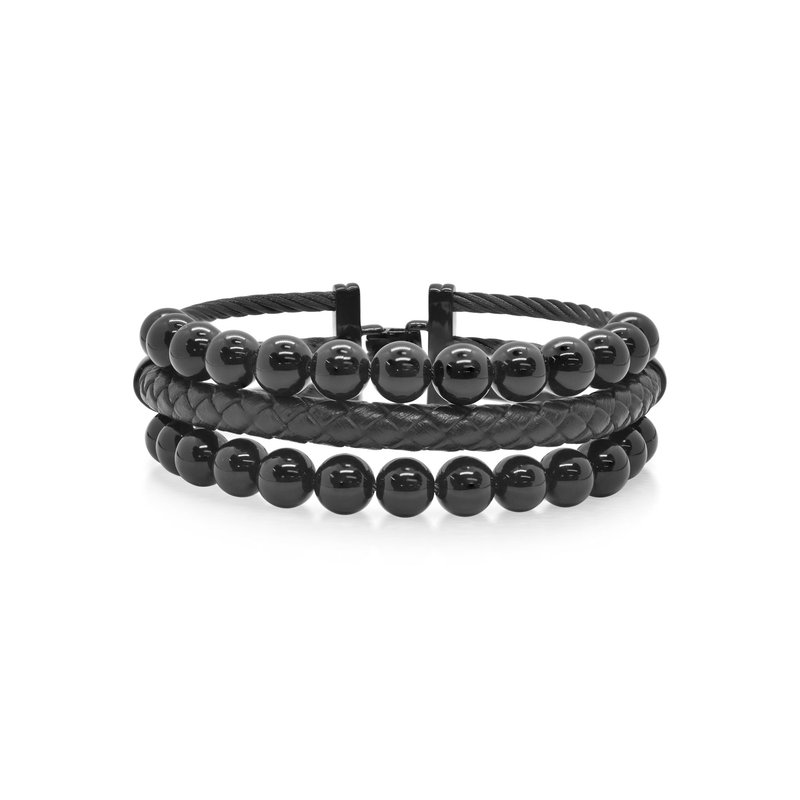 ALOR Black Cable Bracelet with Black Leather & Black Onyx