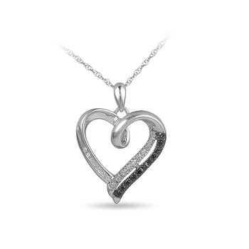 925 Sterling Silver Diamond Heart Pendant