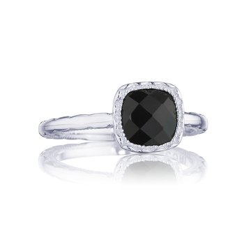 Petite Cushion Gem Ring with Black Onyx