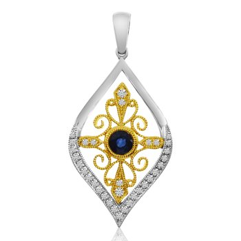 14K Two Toned Teardrop Sapphire and Diamond Pendant