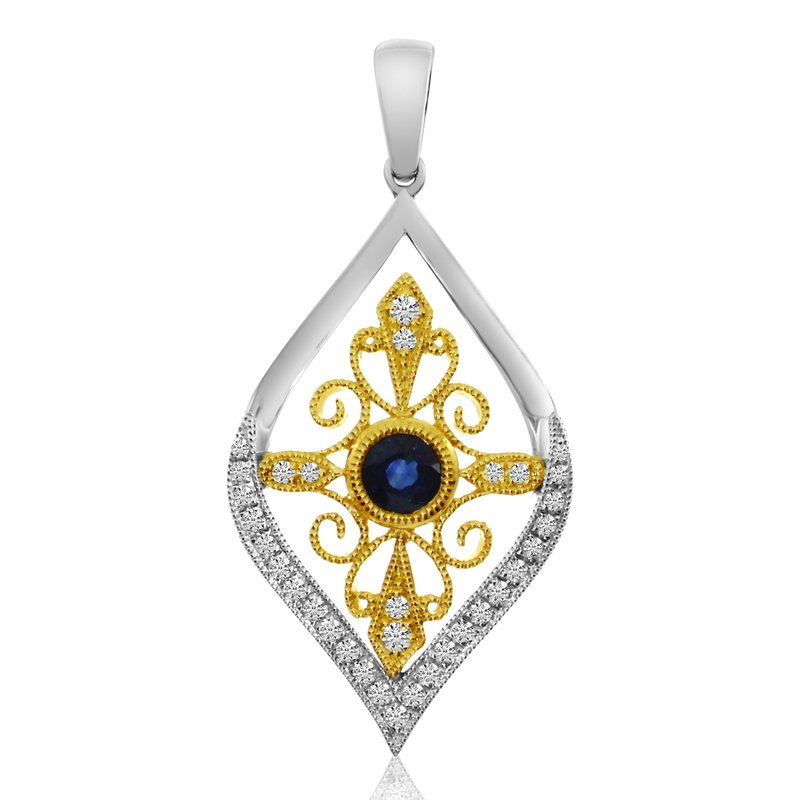 Color Merchants 14K Two Toned Teardrop Sapphire and Diamond Pendant