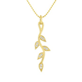 14k Gold and Diamond Vine Necklace