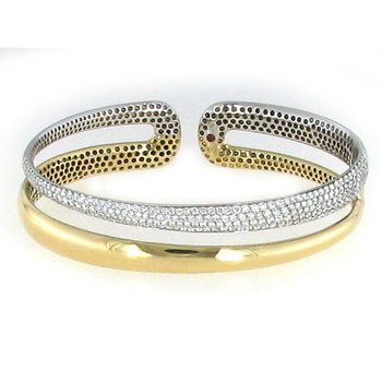 18Kt Yellow And White 2 Row Diamond Bangle