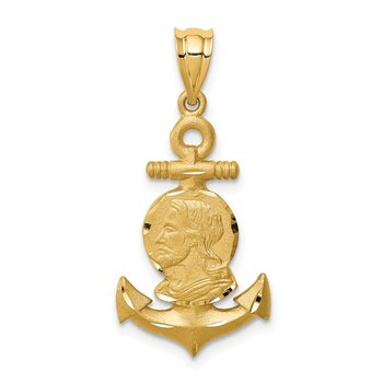 14K Brushed & Diamond-cut Jesus Head Anchor Pendant