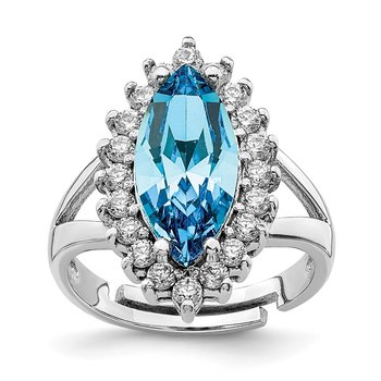 Sterling Silver RH-plated Clear & Marquise Blue Crystal Adjustable Ring