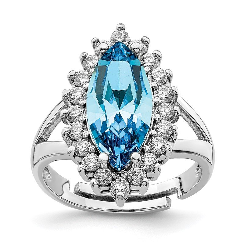 Quality Gold Sterling Silver RH-plated Clear & Marquise Blue Crystal Adjustable Ring
