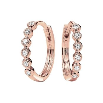 10K Rose Gold Mixable Prong Diamond Earrings 1/7CT