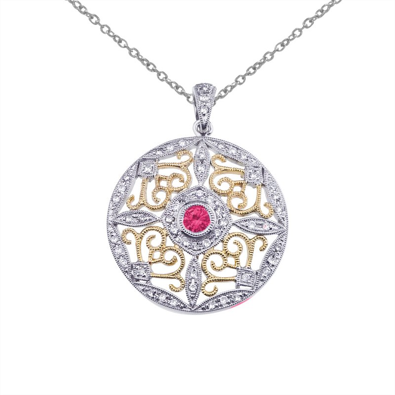Color Merchants 14k Two-Tone Gold Ruby and Diamond Round Filigree Pendant