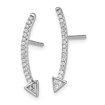 Sterling Silver Rhodium-plated CZ Arrow Ear Climber Post Earrings