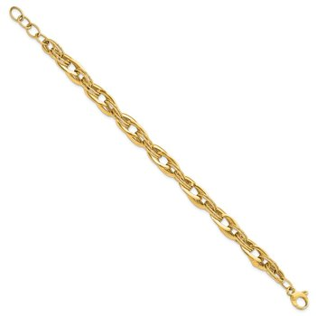 14k Polished and Textured Fancy Link 8in Bracelet