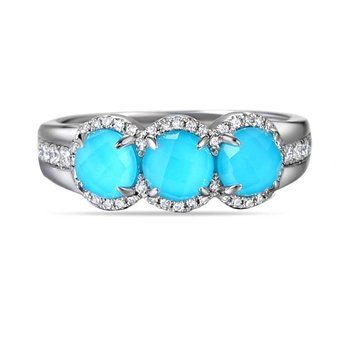 14K Ring with 3 doublet Turquoise 0.30C & 52 Diamonds 0.25C