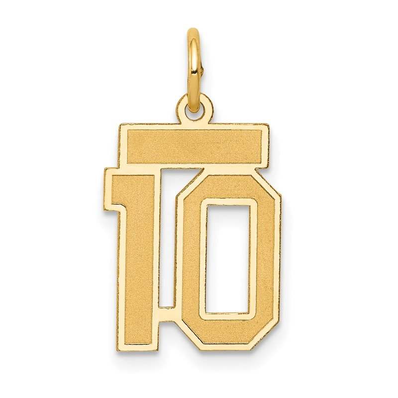 Quality Gold 14k Small Satin Number 10 Charm