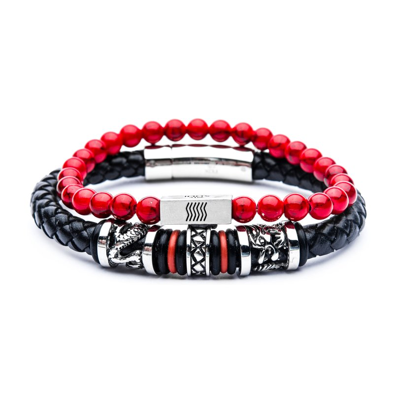 INOX Red Leather Station Stackable Bracelets