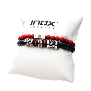 Red Leather Station Stackable Bracelets