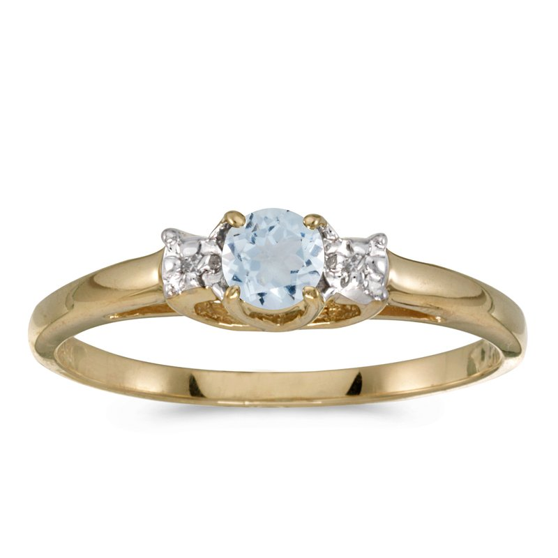 Color Merchants 14k Yellow Gold Round Aquamarine And Diamond Ring