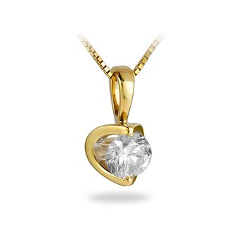"14K YG Diamond ""Moon Shine"" Solitaire Pendant"