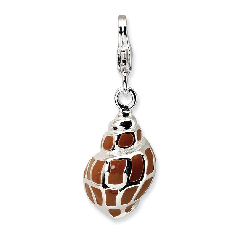 Quality Gold Sterling Silver 3-D Enameled Shell w/Lobster Clasp Charm