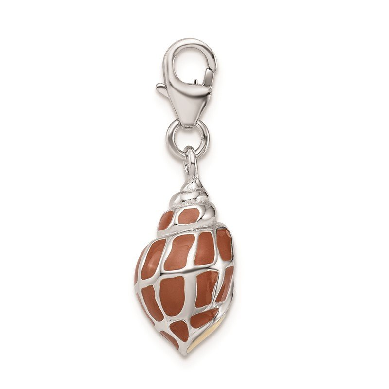 Quality Gold Sterling Silver RH 3-D Enameled Shell w/Lobster Clasp Charm