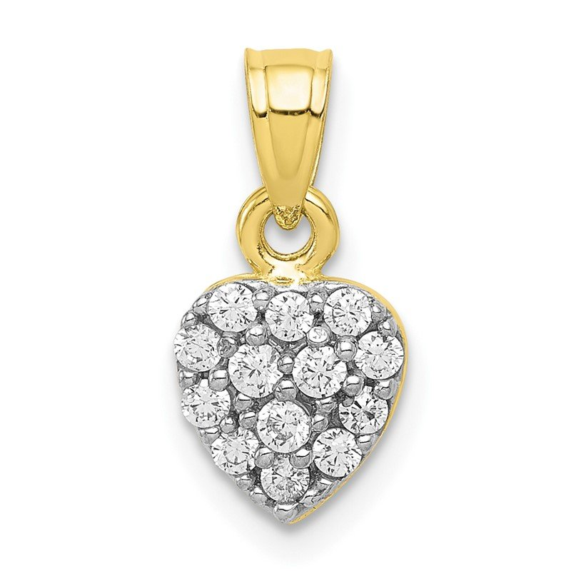 Quality Gold 10k CZ Cluster Heart Charm