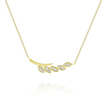 Diamond Leaf Branch Necklace Set in 14 Kt. Gold