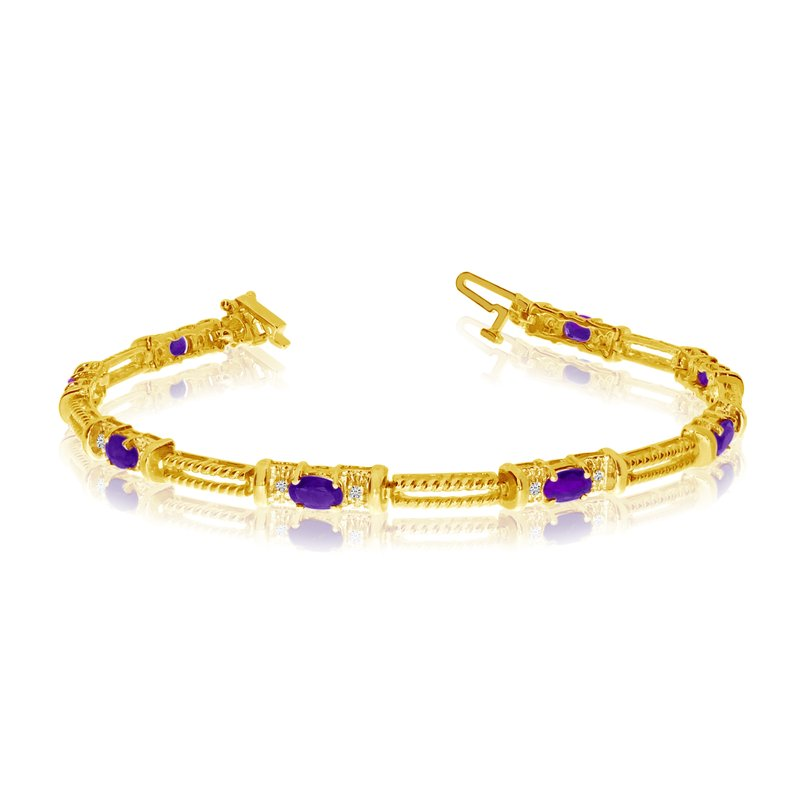 Color Merchants 10k Yellow Gold Natural Amethyst And Diamond Tennis Bracelet